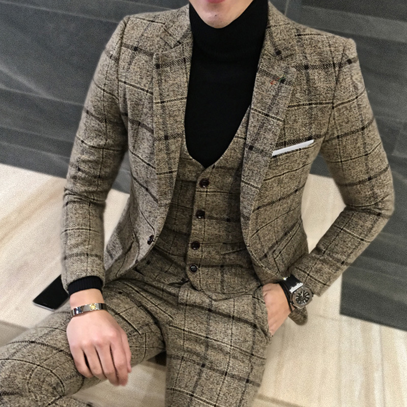 [해외]HOHO 2018 신사 격자 무늬 모직 신랑 들러리 3 피스 정장 신랑/HOHO 2018 British gentleman plaid wool groomsman three-piece suit the groom