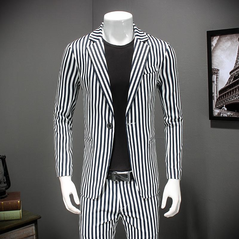 [해외]화이트 스트라이프 비즈니스 정장 재킷 남자 2018 봄 스마트 캐주얼 턱시도 슬림 맞는 공식 블레이저 남성용 최신 코트 4XL 872/White Striped Business Suit Jackets Men 2018 Spring Smart Casual Tuxedo