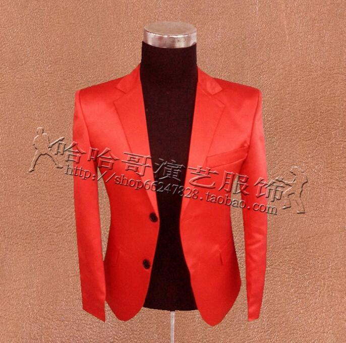 [해외]날씬한 옷 남성 정장 디자인 masculino homme terno 무대 의상 가수 재킷 남성 블레이저 댄스 스타 스타일 드레스 빨간색/Slim clothes men suits designs masculino homme terno stage costumes fo