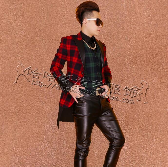 [해외]옷 남자 정장 디자인 가수 재킷 남자 격자 무늬 재킷 댄스 스타 스타일 드레스 펑크 masculino homme terno 무대 의상/Clothes men suits designs masculino homme terno stage costumes for sing