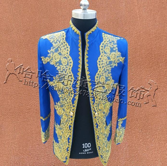 [해외]고궁의 옷 남성 정장 디자인 남성 masculino homme 무대 가수 남성 자켓 남성 블레이저 댄스 스타 스타일 블루/National Palace clothes men suits designs masculino homme stage singers embroi