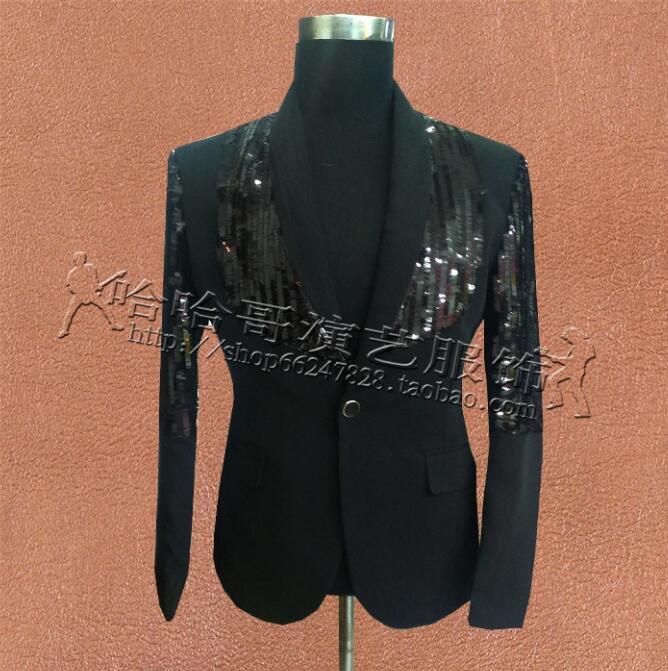 [해외]블랙 스팽글 옷 남성 정장 디자인 가수 재킷 mens blouse 춤 스타 스타일 펑크 masculino homme 무대 의상/Black sequins clothes men suits designs masculino homme stage costumes for