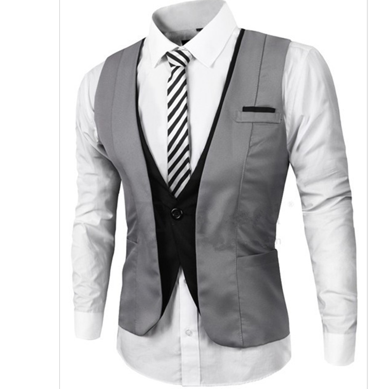 [해외]Mens 정장 조끼 V 넥 대비 색 슬림 맞는 복장 조끼 남성용 Strappy Waistcoat Hombre/New Arrival Mens Suit Vest V Neck Contrast Color Slim Fit Dress Vests For Men Back St