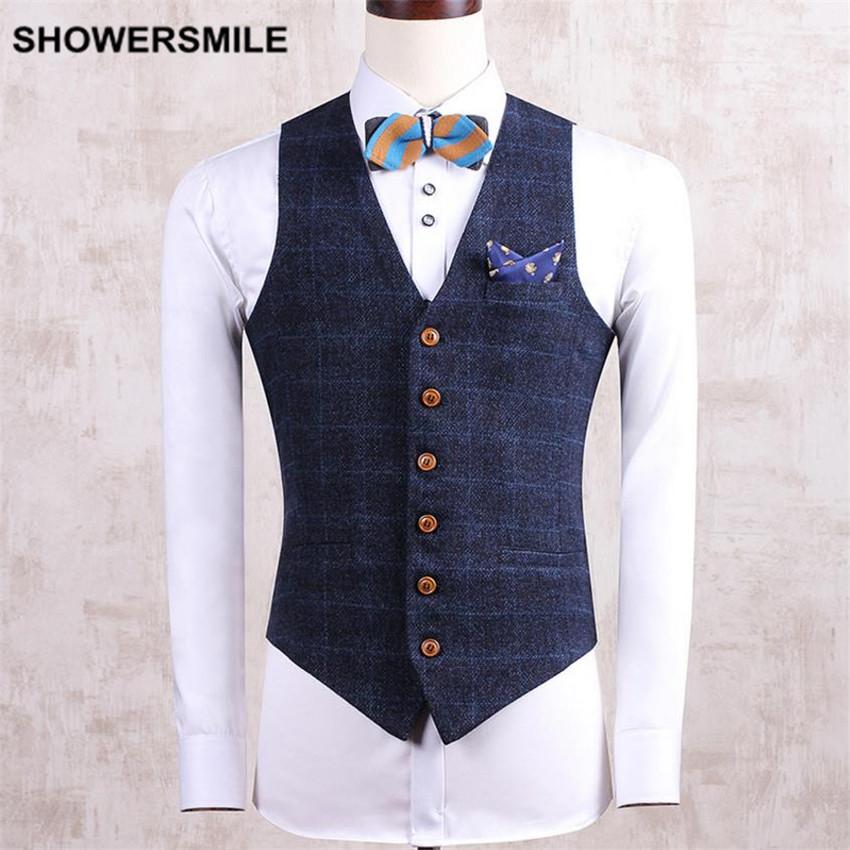[해외]SHOWERSMILE 브랜드 Mens 정장 조끼 민Retail 자켓 격자 무늬 Gilet 슬림 피트 베이지 네이비 스프링 Veste 세련된 조끼 남성 의류/SHOWERSMILE Brand Mens Suit Vest Sleeveless Jacket Plaid Gi