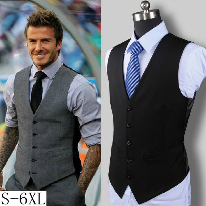 [해외]남자 슬림 양복 조끼 남성 단일 브레스트 캐주얼 조끼 남자 파티 웨딩 외투 Gilet 옴므 플러스 사이즈 Beckhams와 같음/Men Slim Suit Vests Male Single Breasted Business Casual Vest Men Party We