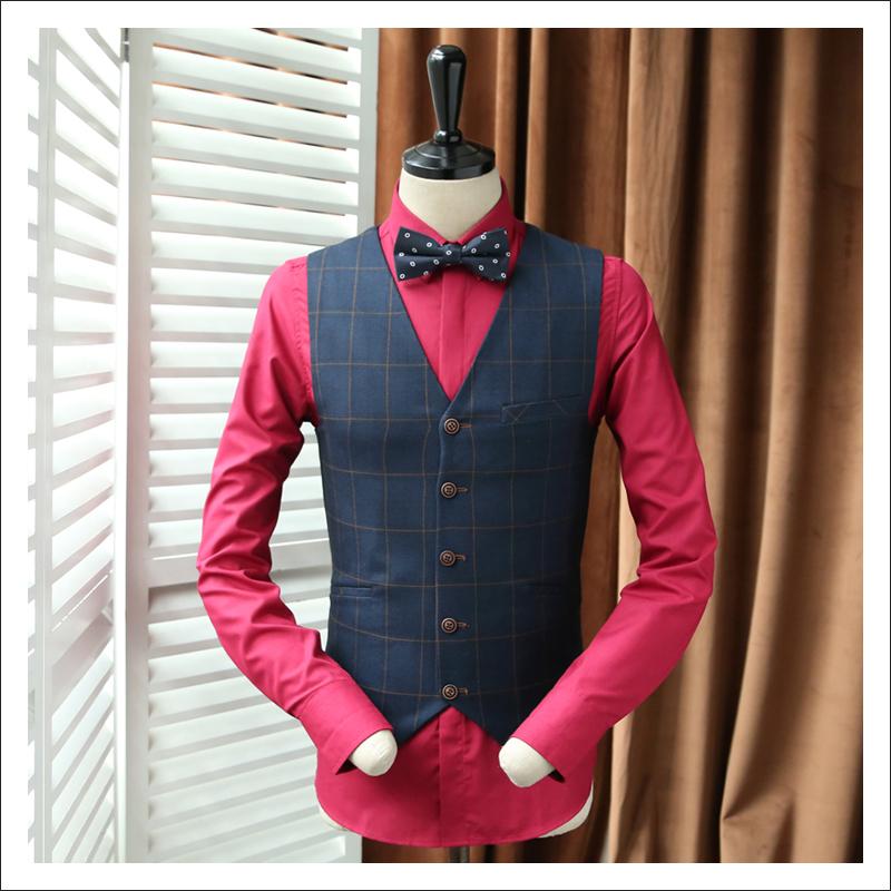 [해외]2017 새로운 푸른 격자 무늬 양복 조끼 신랑 빈티지 조끼 남자 블레 이저 단일 브레스트 조끼 남성 패션 복고풍 웨딩 드레스 양복 조끼/2017 New Blue Plaid Suit Vest Groom Vintage Vests Man Blazer Single B