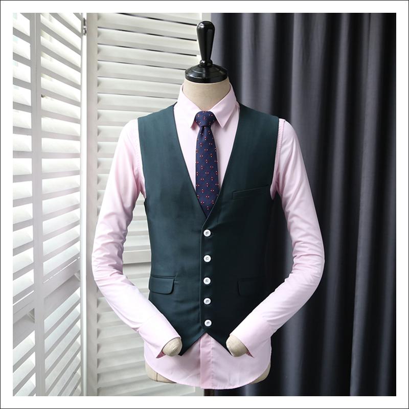 [해외]2017 남자 & s 슬림 양복 조끼 남성 진한 녹색 웨딩 드레스 블레이저 조끼 남자 패션 재킷 조끼 플러스 크기 365mj04/2017 Men&s Slim Suits Vests Male Dark Green Wedding Dress Blazer Vest