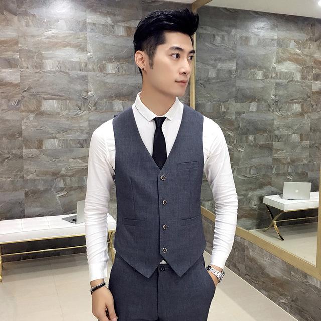 [해외]남자 & 양복 조끼 하이 엔드 비즈니스 캐주얼 단색 V 넥 드레스 슬림 남자 스티치 주머니 남자 & 패션 2017 남자 양복 조끼/Men&s suit vest High-end Business casual solid color V-neck dress