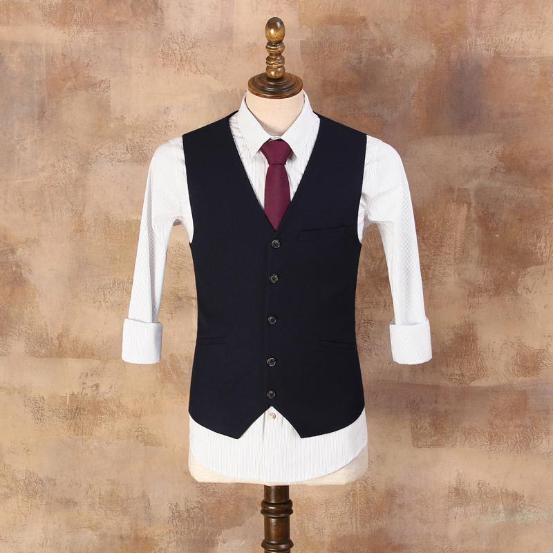 [해외]웨딩 드레스 CBMJ011에 대 한 영국 신사 슬림 진한 파란색 정장 조끼 남자 & s 캐주얼 Vesta 남성 빈티지 양복 조끼/British Gentleman Slim Dark Blue Suit Vest Men&s Casual Vesta Male Vin