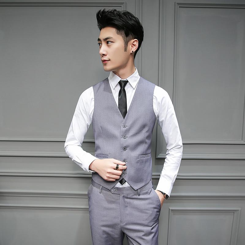 [해외]colete masculino korean slim fit suit 남성 2017 년 신작 봄 여름 패션 gilet homme 비즈니스 캐주얼 남성 양복 조끼/colete masculino korean slim fit suit vest men 2017 brand