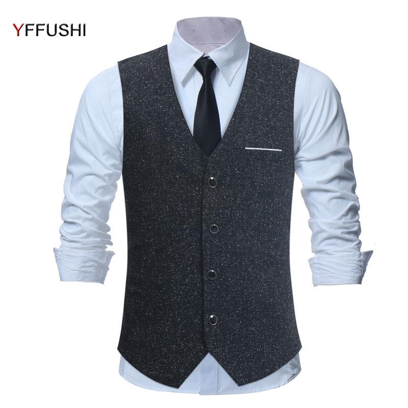 [해외]YFFUSHI 남자 조끼 단일 브레스트 블랙 Chaleco Hombre 남자 조끼 웨딩 영국 스타일 슬림 맞는 신사 S-4XL/YFFUSHI New Arrival Men Vest Single Breasted Black Chaleco Hombre Men Vest