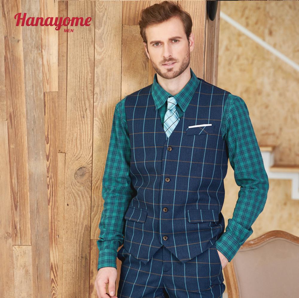 [해외]남자 & s 캐주얼 정장 조끼 2017 녹색 체크 V 넥 민Retail Morden 맞추기 비즈니스 자켓 조끼 조정 가능한 턱시도 블레 이저 조끼/Men&s Casual Suit Vest 2017 Green Checked V-neck Sleeveless