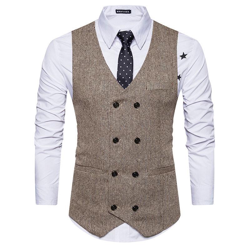 [해외]YFFUSHI 신사복 조끼 카키 그레이 조끼 더블 브레스트 포멀 캐주얼 스타일 슬림 피트 웨딩 파티 무대 패션 2017/YFFUSHI New Men Vest Khaki Grey Vest Double Breasted Formal Casual Style Slim F