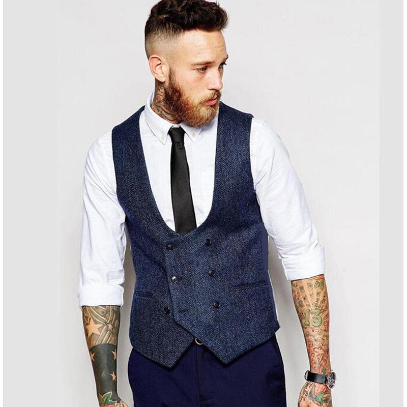 [해외]새로운 영국 스타일의 슬림 모직 헝겊 더블 브레스트 민Retail 자켓 양복 조끼 조끼 조끼 남자 & 조끼/New British Style Slim Woollen cloth Double Breasted Sleeveless Jacket Waistcoat M