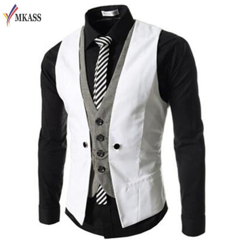 [해외]새로운 가을 남성 조끼 정장 양복 조끼 영국 스타일 캐주얼 블레 이너 틀린 두 조끼 더블 브레스트 망 슬림 맞는 정장 조끼/New Autumn Men Vest Suit Waistcoats British Style Casual Blazer False Two Ves