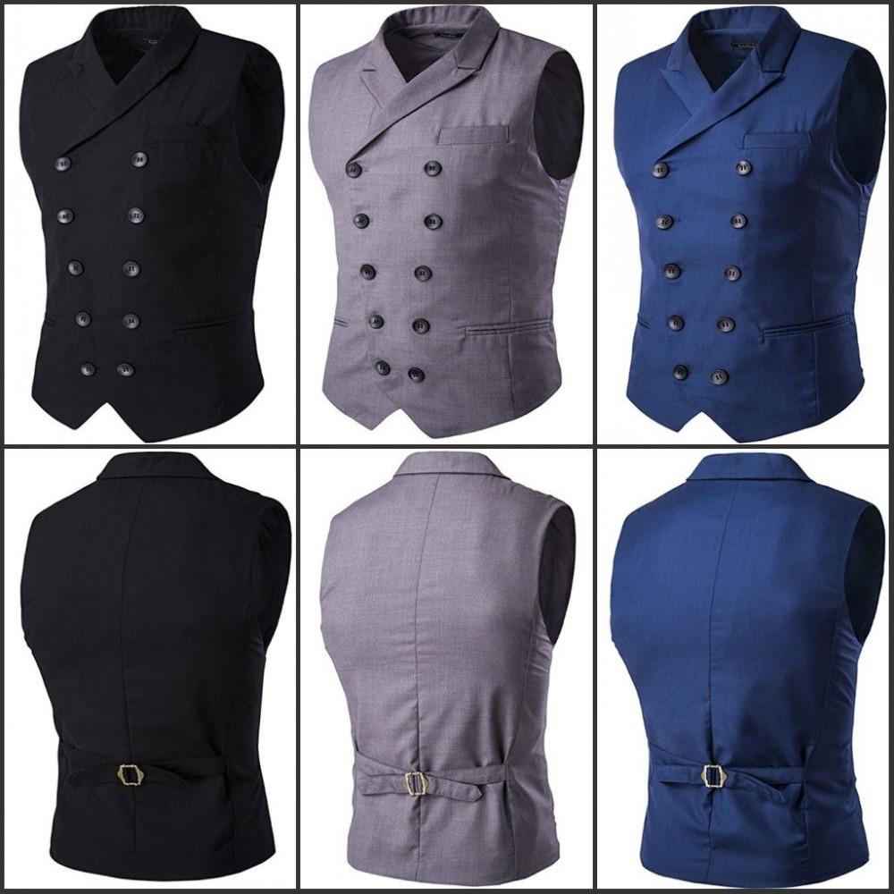 [해외]망의 조끼 패션 슬림 맞는 두 번 가슴 솔리드 조끼 정장 비즈니스 조끼/Mens Vest Fashion Slim Fit Double-breasted Solid Vest Formal Business Waistcoat