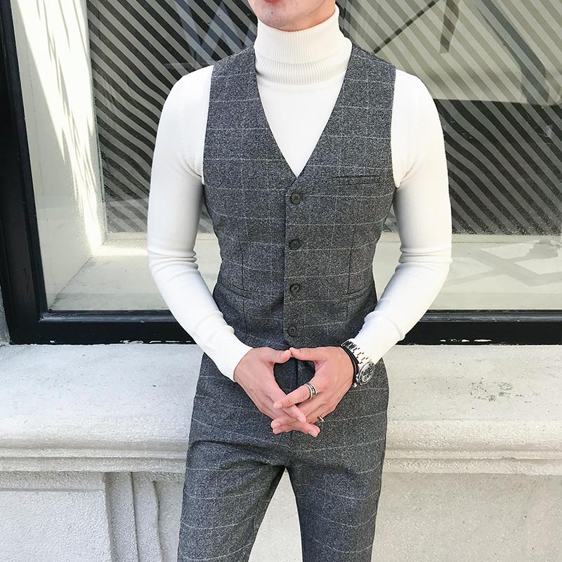 [해외]남성 싱글 브레스트 조끼 남자 격자 무늬 드레스 웨딩 정장 양복 조끼 남성 레드 그레이 캐주얼 정장 Gilet 조끼 슬림 피트 비즈니스 탑스 남자/Mens Single Breasted Vest Men Plaid Dress Wedding Suit Waistcoat