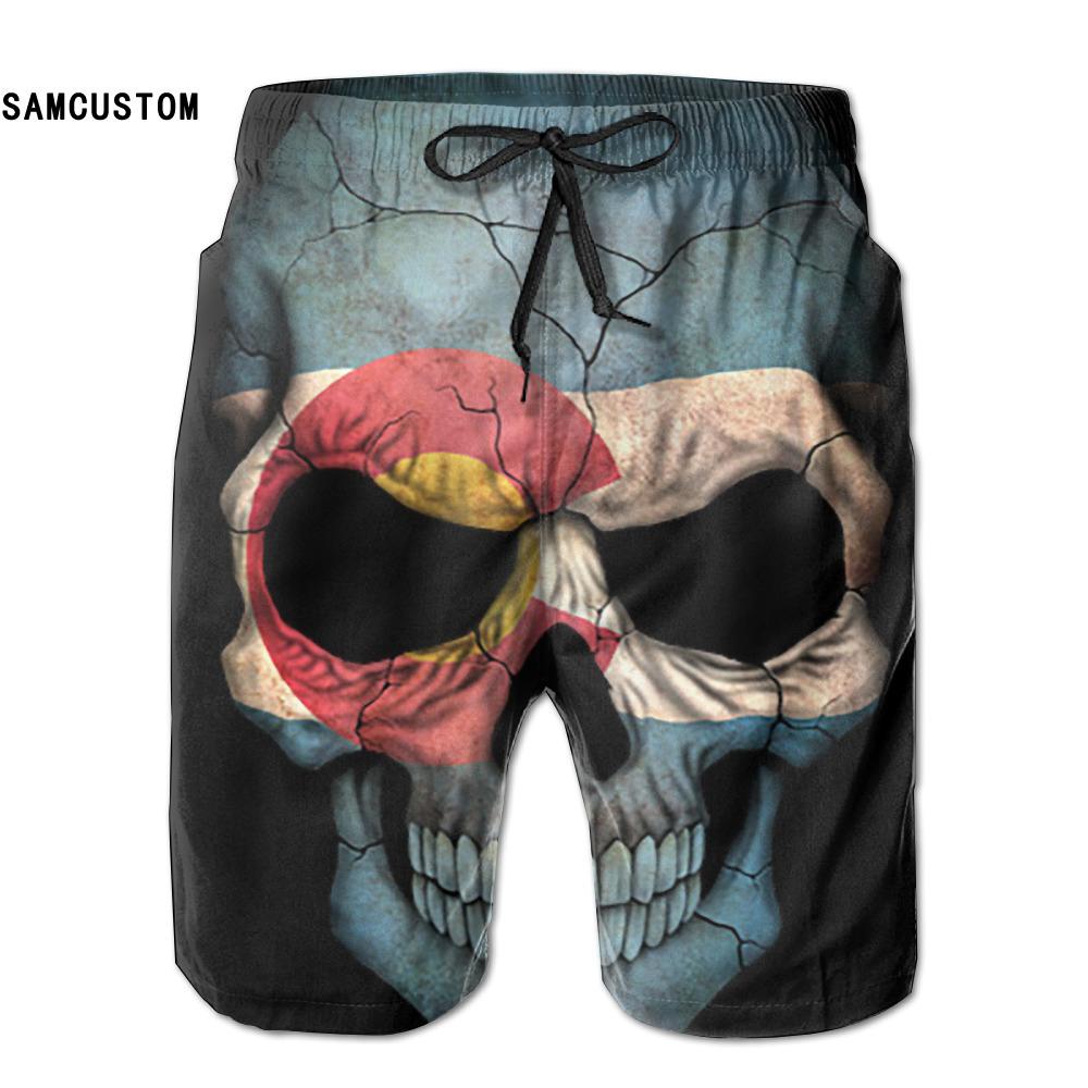 [해외]SAMCUSTOM mens 땀 흡수 속건 초경량 통기성 콜로라도 국기 해골 반바지 gmy 반바지 비치 반바지/SAMCUSTOM mens perspiration quick dry ultra-light breathable Colorado Flag Skull shor