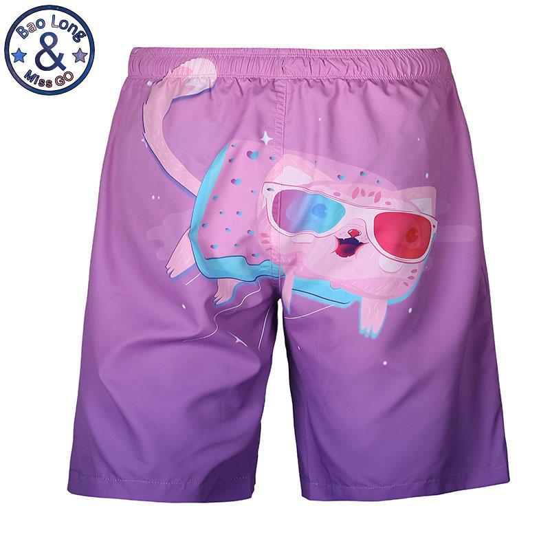 [해외]Mr.BaoLong 새 패션 동물 귀여운 고양이 인쇄 짧은 팬티 얇은 패치 워크 핑크 / 퍼플 남성 보드 반바지 남성 휴가 해변 반바지/Mr.BaoLong New Fashion Animal Cute Cats Print Short Pant Thin Patchwor