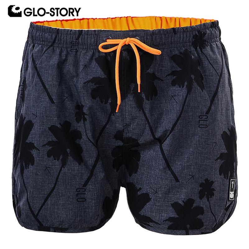 [해외]GLO-STORY Men 's s 2018 년 여름 비치 반바지 남자 캐주얼 Drawstring 허리 코코넛 나무 프린트 보드 수영복 MTK-1748/GLO-STORY Men&s 2018 Summer Beach Shorts Men Casual Drawst
