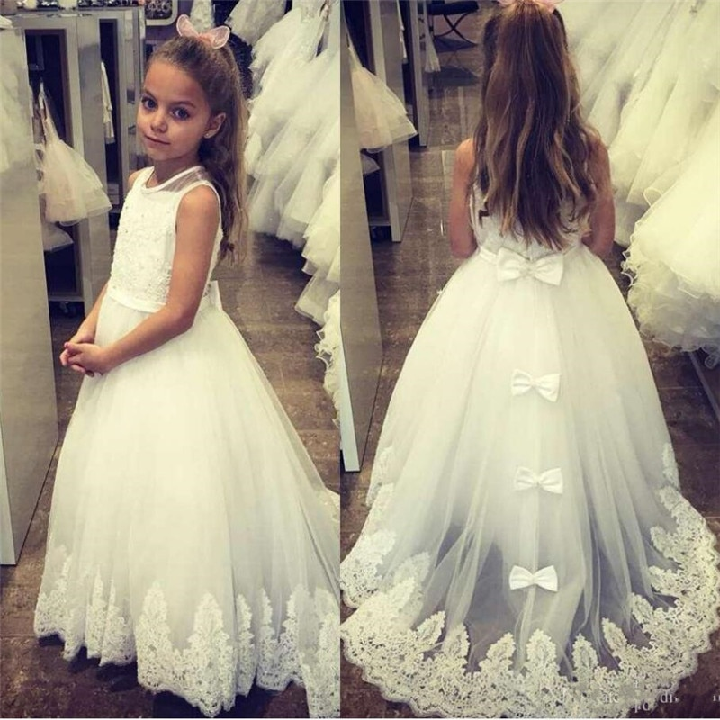 [해외]Gorgeous Flower Girl Dress For Wedding Jewel Neck Sleeveless Toddler Pageant GownsAppliques Bows Holy First Communion Gown/Gorgeous Flower Girl Dr