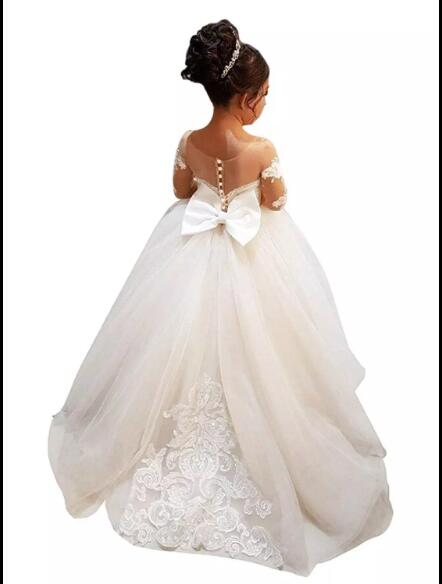 [해외] Bow Lace Applique Flower Girl Dress Lace Vintage Dresses For Party Custom Made Princess TutuTrain/ Bow Lace Applique Flower Girl Dress Lace Vinta