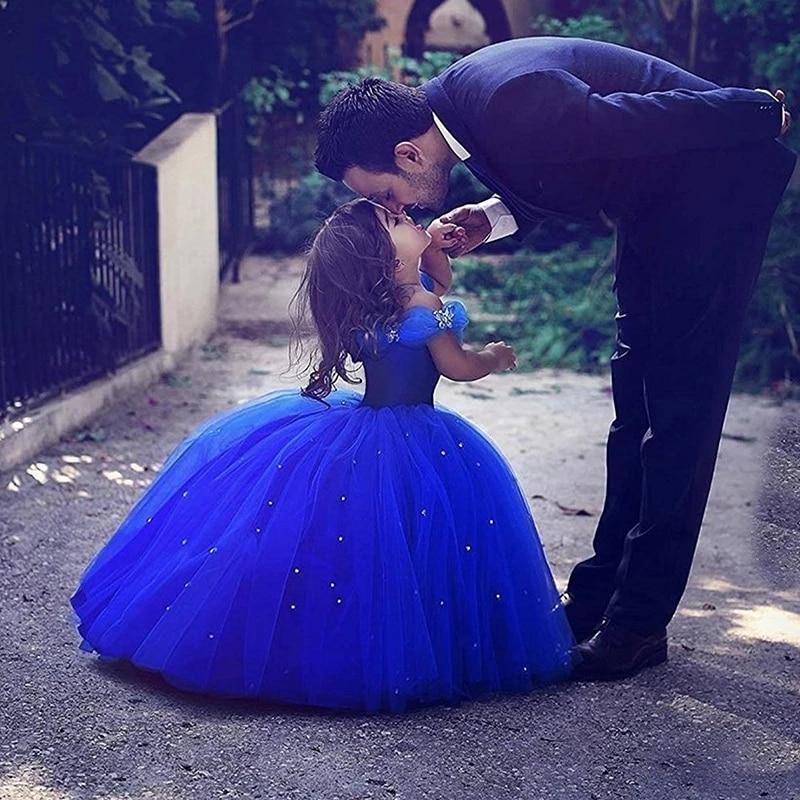 [해외]Off the Shoulder Royal Blue Bling Bling Ball Gowns Flower Girls Dresses For Wedding Little Children Kid First Communion Dresses/Off the