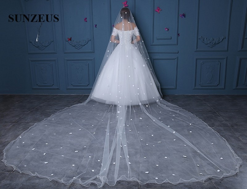 [해외]신부 베일 2018 파란색 꽃 베일 웨딩 연필 가장자리 한 층 성인 대성당 베일 velo de novia boda largo WV075/Bridal Veils 2018 Beaded Flowers Veil For Wedding Pencil Edge One laye