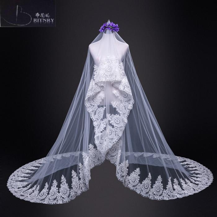 [해외]브리튼 2018 1 층 레이스 웨딩 베일 럭셔리 아이보리 베일 브라 액세서리 실제 사진 저렴한 롱 베일/BRITNRY 2018 One-tier Lace Wedding Veil Luxury Ivory Veil  Bridal Accessories Real Photo