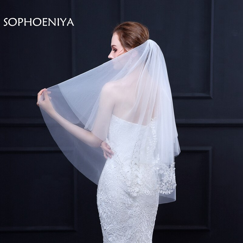 [해외]New Arrival voile Ivory Bridal veil Two Layers voile mariage Sexy wedding veil wedding accessories welon long veil velo sposa/New Arrival voile Iv