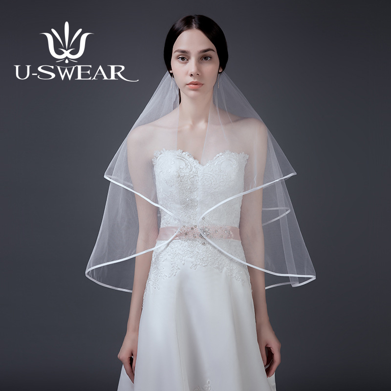 [해외]U-SWEAR 2018 New Arrival White Women Wedding Veils Two LayersComb Veil Elbow Ribbon Edge Bridal Wedding Accessories/U-SWEAR 2018 New Arrival White