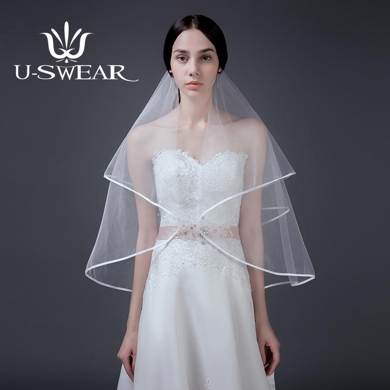 [해외]U-SWEAR 2018 New Arrival White Women Wedding Veils Two LayersComb Veil Elbow Ribbon Edge Bridal Wedding Accessories/U-SWEAR 2018 New Arrival White