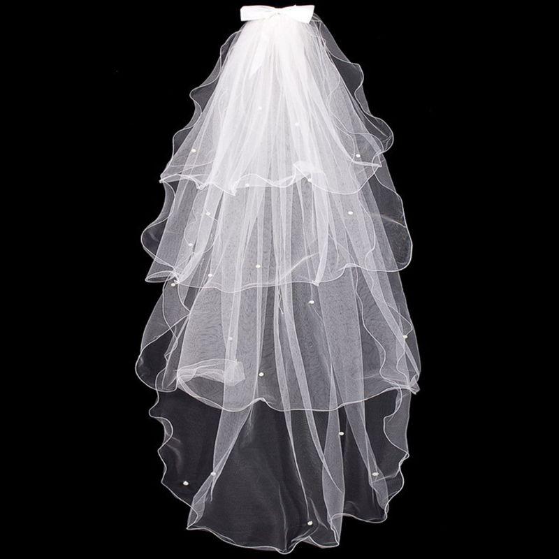 [해외]Tulle Wedding Dress Veils White Bowknot Bridal Multi Layer Hair Veil Comb Faux Pearls Bride Fairy Marriage Accessories/Tulle Wedding Dre