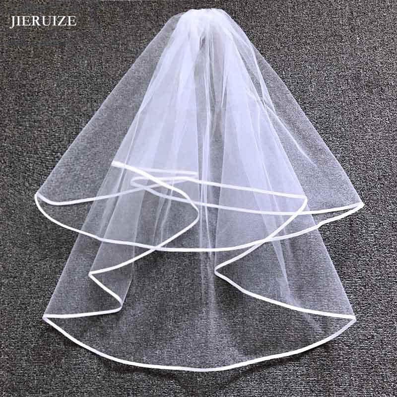 [해외]JIERUIZE Ribbon Edge Cheap Wedding Veils With Comb two layers Simple Short Bridal Veil Wedding Accessories/JIERUIZE Ribbon Edge Cheap We