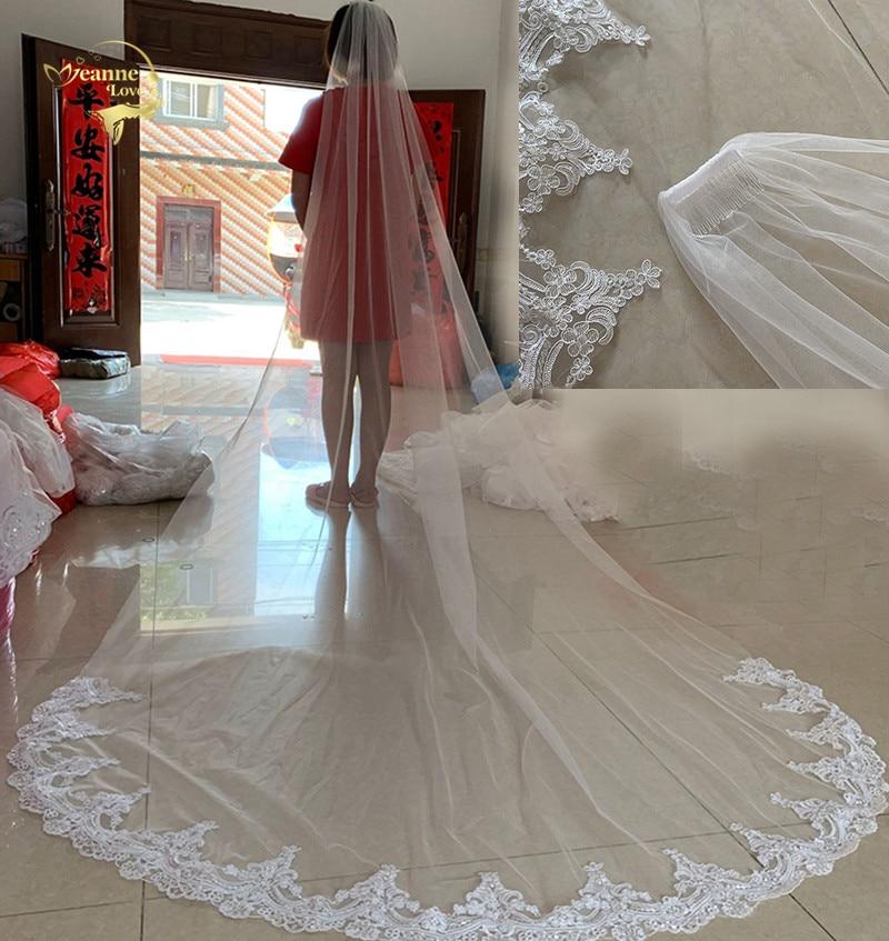 [해외]White/Ivory Wedding Veils 3M Long Lace Edge One Layer Cathedral Bridal Veils With Comb Wedding Dress Accessories Real Photos/White/Ivory
