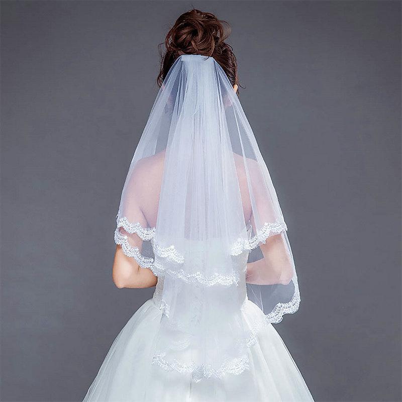 [해외]2019 New Fashion White Lace Two-Layer Short Veil Hair Combs for Church Cathedral Bridal Bride Wedding Party Headwear 80cm/2019 New Fashi