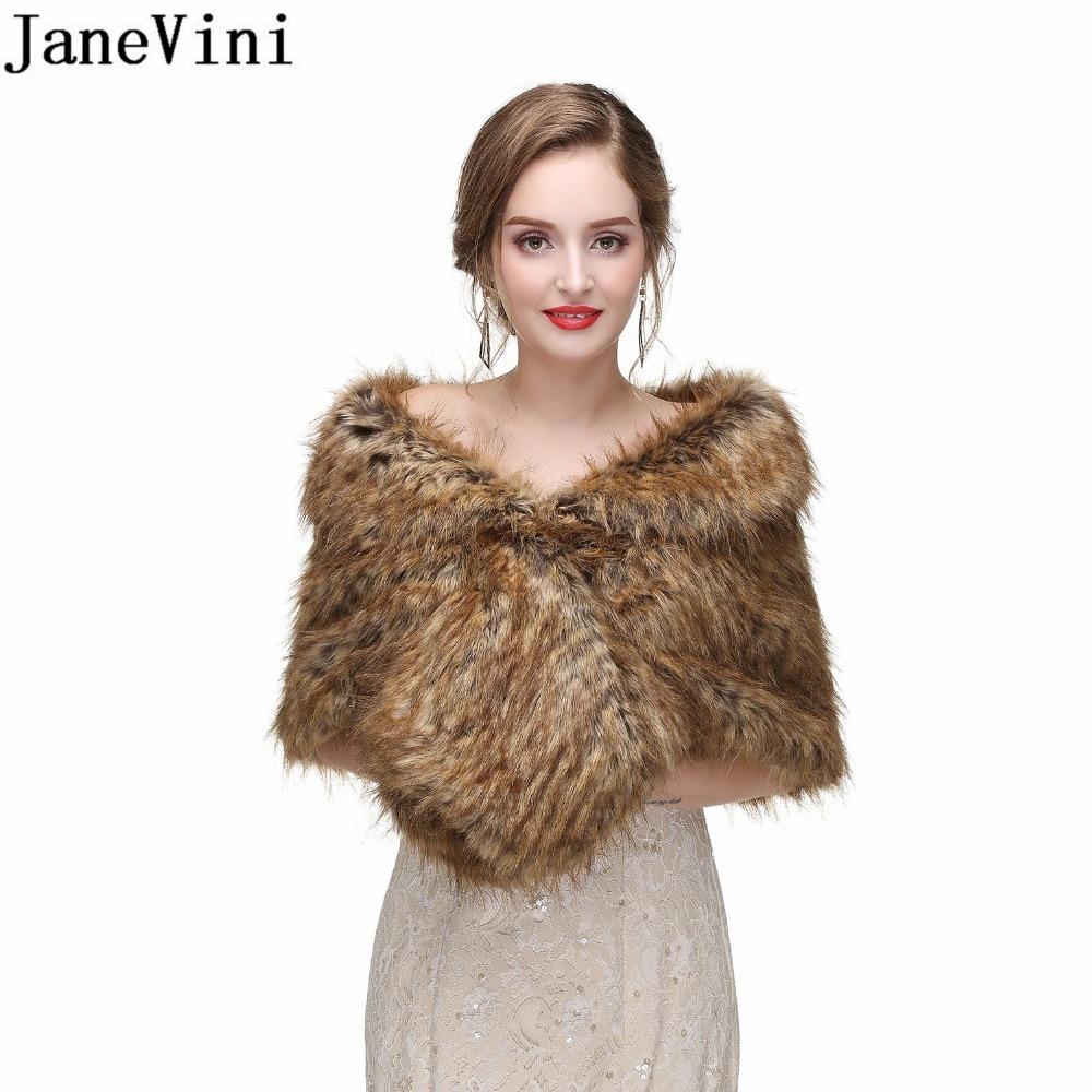 [해외]JaneVini 2018 Faux Fur Wrap For Women Wedding Winter Boleros Party Formal Bridal Shoulder Wraps Shawl Fur Cape Jackets Bolero/JaneVini 2018 Faux F