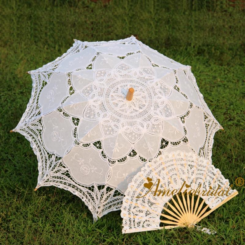 [해외]White Ecru Black Handmade Cotton Vintage Lace Parasol and Lace Fan Set Party Wedding Decoration Umbrella /White Ecru Black Handmade Cotton Vintage