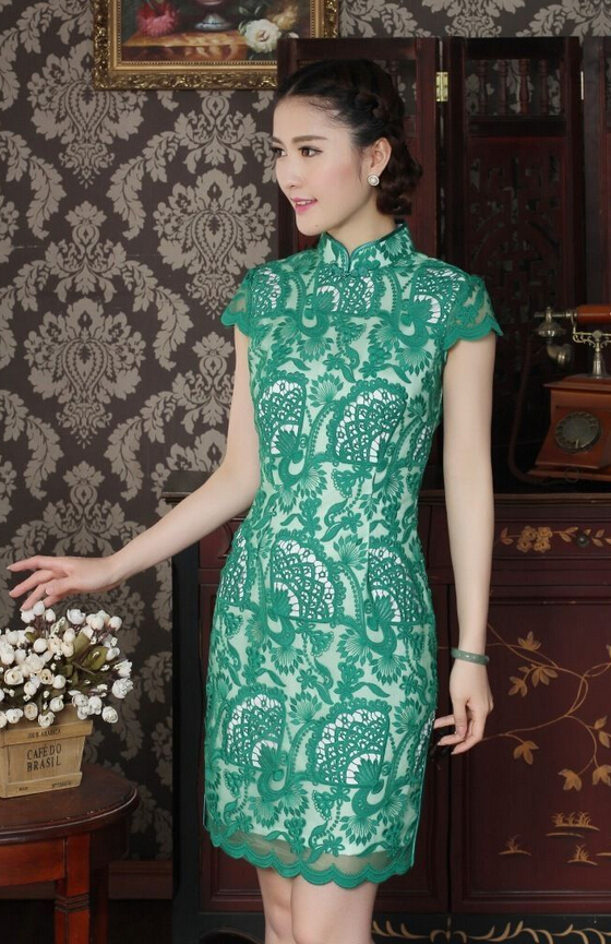 패션  여성 & S의 레이스 미니 드레스 치파오 녹색 SZ : SML XL XXL/Fashion Chinese women&s Lace mini dress Cheongsam Green Sz:S M L XL XXL