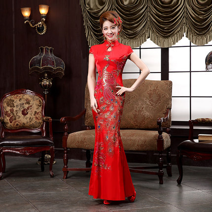 2015 슬리밍 신부 치파오 웨딩 드레스  긴 빈티지 개선 인어 Qipao 파티 드레스/2015  Slimming Bride Cheongsam Wedding Dress Chinese Long Vintage Improved Mermaid Qipao Party Dr