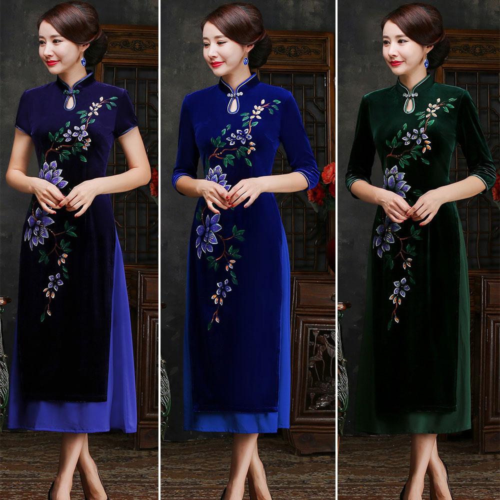 [해외]여자를어 번체 의류 New Vietnam Aodai Dress 긴 벨벳 Cheongsam 회화 Qipao Dresses Casual/Traditional Chinese Clothes For Woman New Vietnam Aodai Dress Long Velve