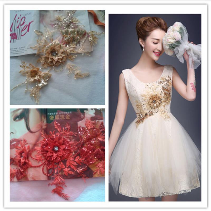 [해외]수제 DIY 라인 석 3D 메쉬 천으로 수 놓은 꽃 Cheongsam 복장에 대 한 큰 패치 Eedding 액세서리/Handmade DIY Rhinestones 3D Mesh Cloth Embroidered Flowers Big Patch For Cheongsa
