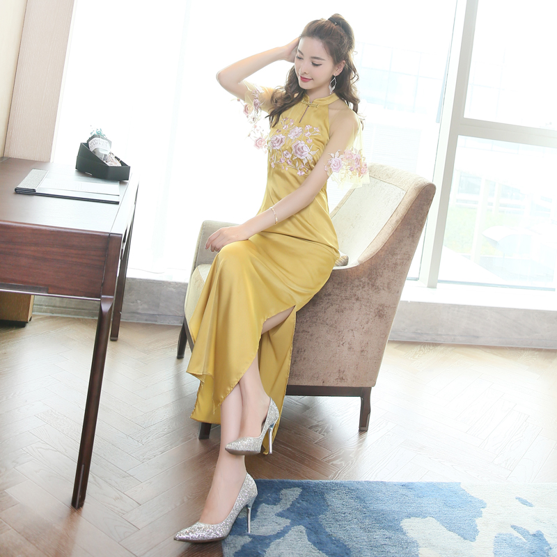 [해외]빈티지 현대 qipao Cheongsam 숙녀 파티 우아한 드레스/Vintage modern qipao Cheongsam lady party elegant dress