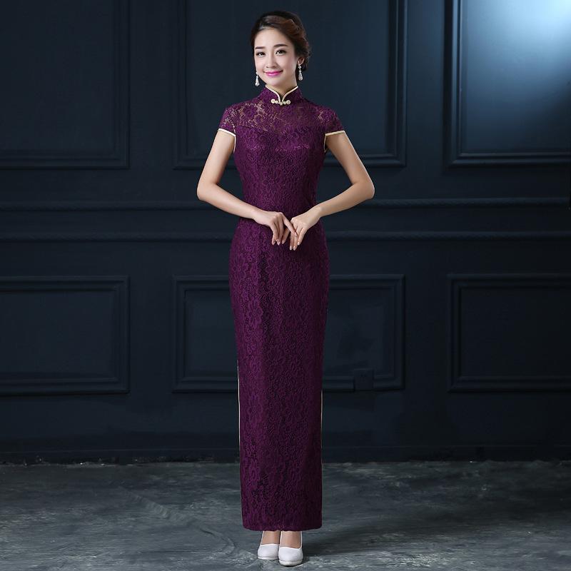 [해외]여자와 보라색 Cheongsam 이브닝 드레스 긴 공식적인  전통 드레스 레이스 Qipao 동양 의류 현대 결혼식 YSB/Women&s Purple Cheongsam Evening Dresses Long Formal Chinese Traditional Dress