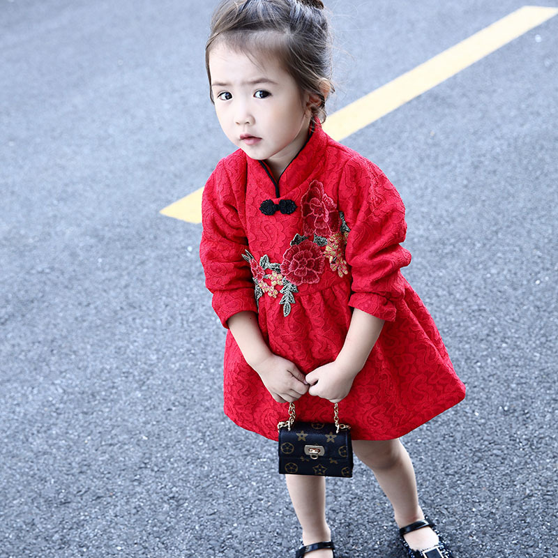 [해외]2018  새 해 빨간색 qipao cheongsam 아이 소녀 드레스 크기 3T-8T/2018 Chinese new year red qipao cheongsam kids girl dress Size 3T-8T