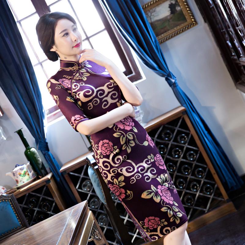 [해외]보라색 벨벳 Cheongsam 어 여성 파티 드레스  여성 벨벳 드레스 하프 Cheongsam QiPao 저녁 공식적인 드레스 M - 4XL/Purple Velvet Cheongsam Chinese Women&s party Dress Chinese Women v