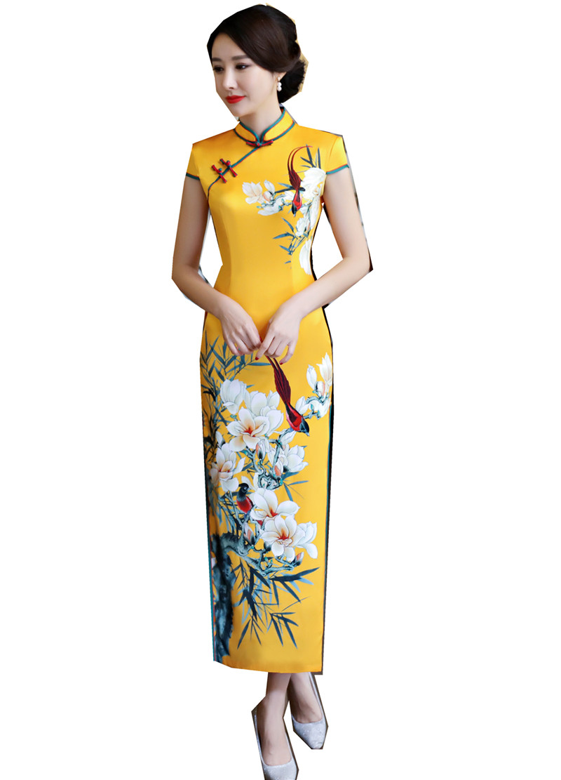 [해외]상해 이야기 가짜 실크 Qipao 드레스 긴 Cheongsam 전국 트렌드 드레스 여성을짧은 슬림 전통 어 드레스/Shanghai Story Faux Silk Qipao dress Long Cheongsam national trend dresses Short S