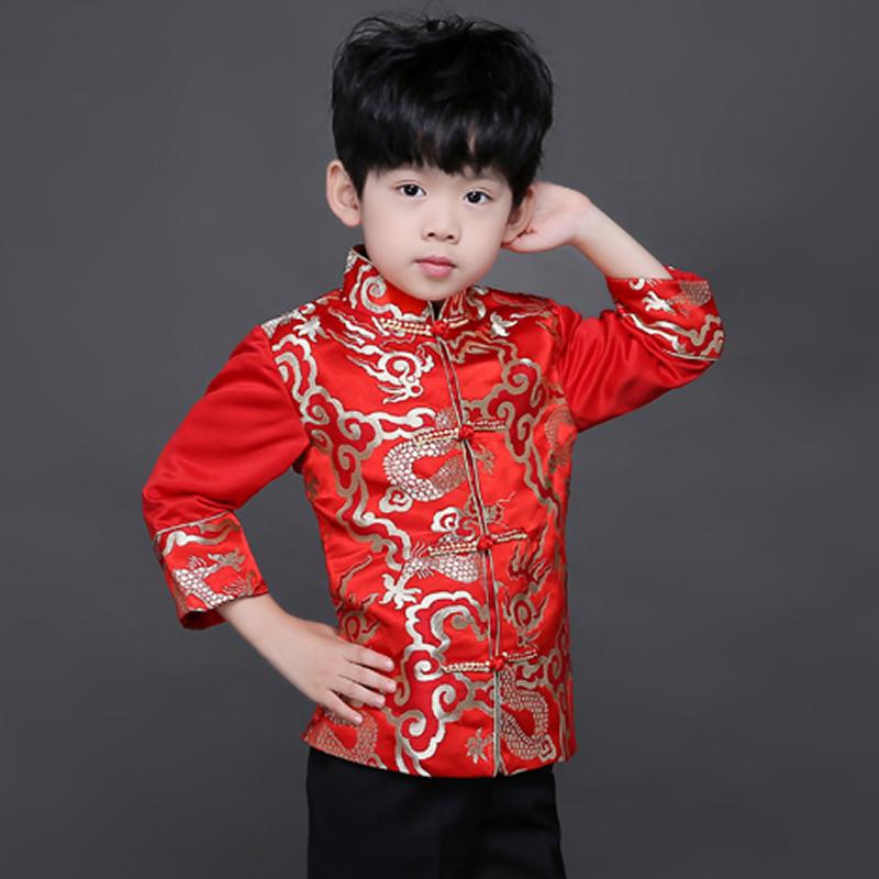 [해외]당나라 Cheongsam 새틴 긴 긴 Retail 느슨한 코트 빨간 새해 복장 키즈 보이  Qipao 어린이 어 스타일 봄 드레스/Tang Cheongsam Satin Long Sleeve Loose Coat Red New Year Costumes For Kid