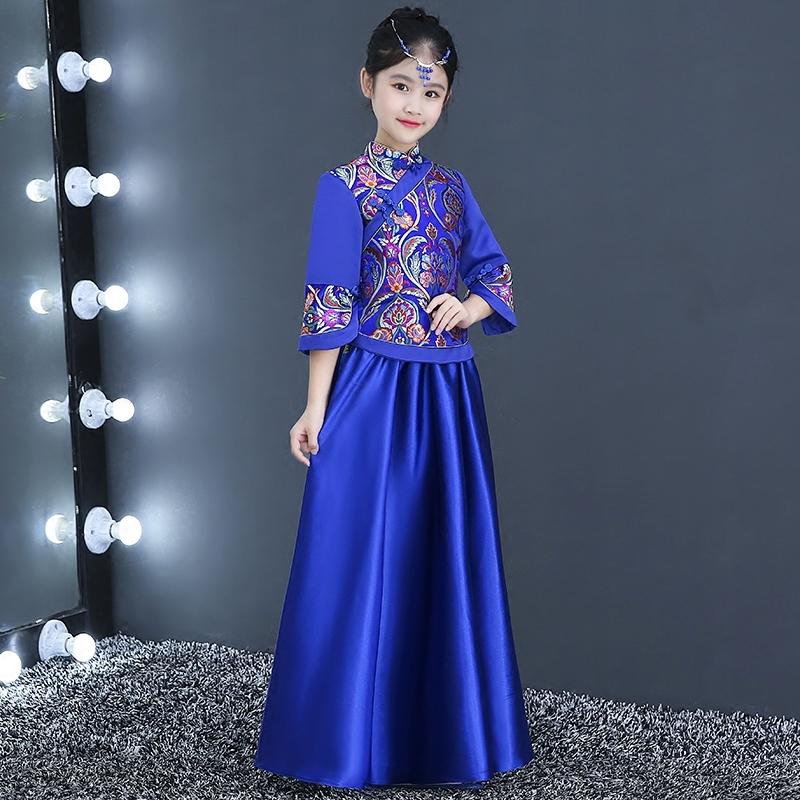 [해외]어린이 겨울 Qipao 긴 Retail 꽃 소녀 공주님 드레스 블루 Cheongsam 현대 어 번체 복장 호스트 성능/Children Winter Qipao Long Sleeve Flower Girl Princess Dresses Blue Cheongsam Mo