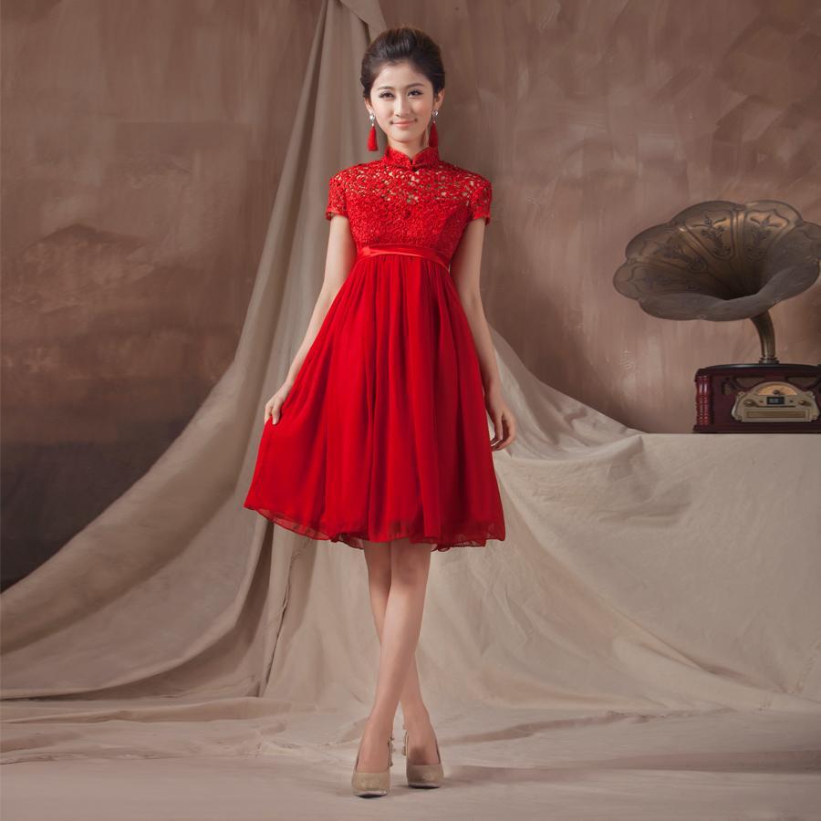 [해외]품질 빨간 cheongsam 공식적인 드레스 출산 패션 디자인 짧은 신부의 이브닝 드레스 원피스 드레스/Quality  red cheongsam formal dress maternity fashion design short bridal evening dress